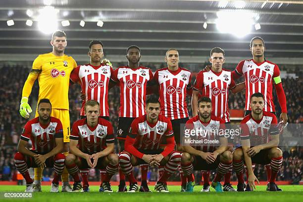 Southampton line up during the UEFA Europa League Group K match between Southampton FC and FC Internazionale Milano at St Mary's Stadium on November...