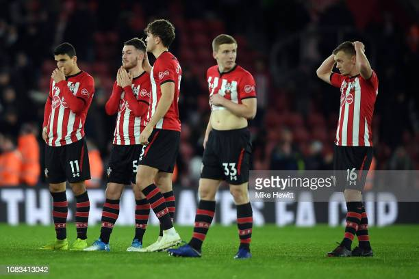 Southampton look on dejected after losing the penalty shoot out in the FA Cup Third Round Replay match between Southampton FC and Derby County at St...