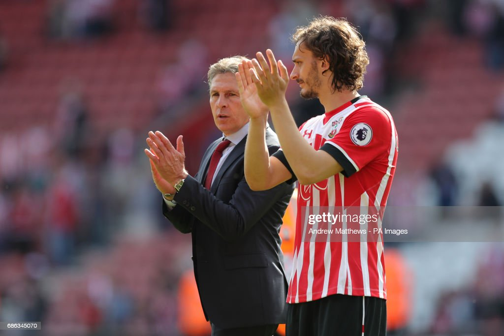 Southampton manager Claude Puel (left) and Southampton's Manolo Gabbiadini after the final whistle during the Premier League match at St Mary's Stadium, Southampton.