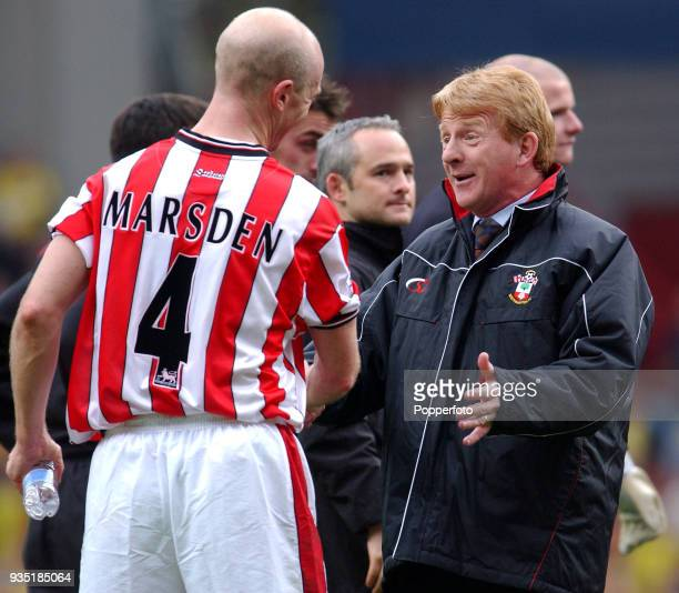 Southampton manager Gordan Strachan celebrates with captain Chris Marsden after the FA Cup SemiFinal between Southampton and Watford at Villa Park in...