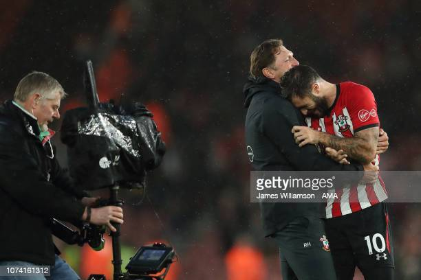 Southampton Manager head coach Ralph Hasenhuttl and Charlie Austin of Southampton at full time of the Premier League match between Southampton FC and...