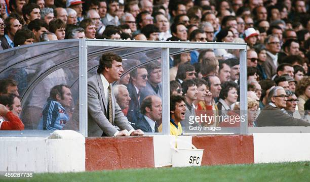 Southampton manager Lawrie McMenemy looks on during a League Division One match between Southampton and Birmingham City at the Dell on August 30 1981...