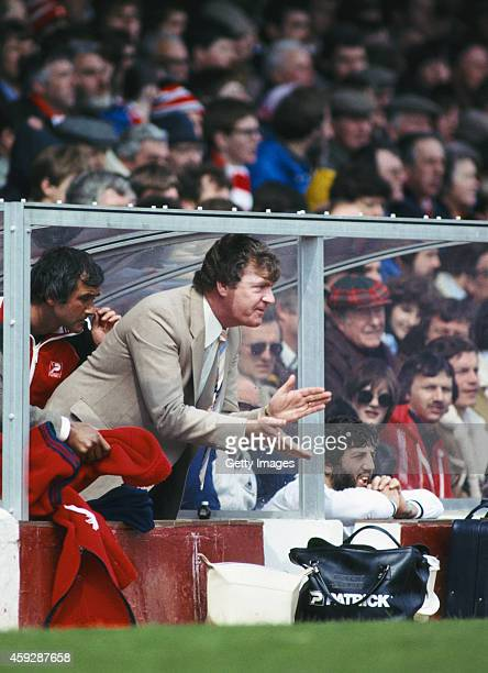 Southampton manager Lawrie McMenemy urges on his side during a League Division One match between Southampton and Spurs at the Dell on April 20 1981...
