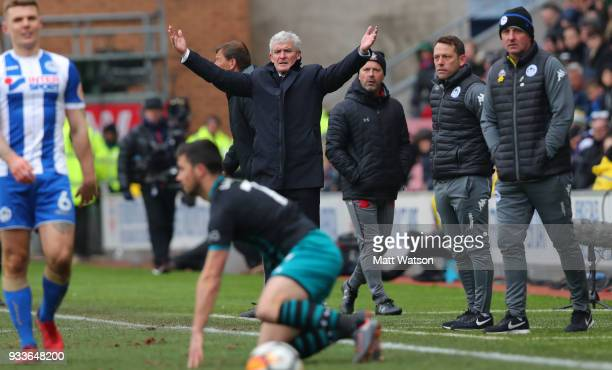 Southampton manager Mark Hhughes during the FA Cup Quarter Final match between Wigan Athletic and Southampton FC at the DW Stadium on March 18 2018...