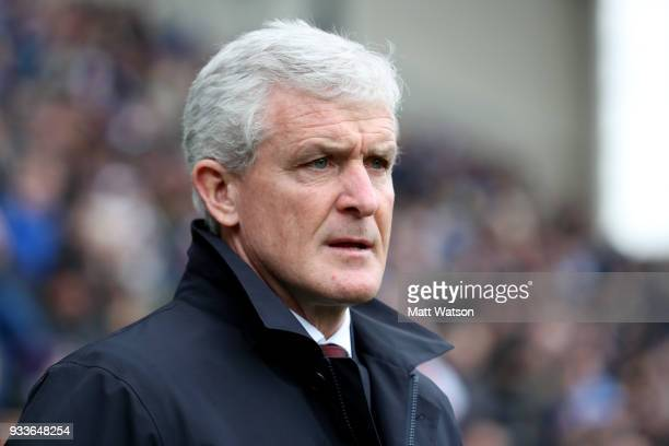 Southampton manager Mark Hughes during the FA Cup Quarter Final match between Wigan Athletic and Southampton FC at the DW Stadium on March 18 2018 in...