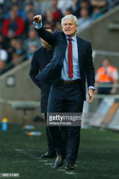 Southampton manager Mark Hughes during the Premier League match between Swansea City and Southampton at Liberty Stadium on May 08 2018 in Swansea...