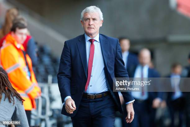 Southampton manager Mark Hughes prior to kick off of the Premier League match between Swansea City and Southampton at Liberty Stadium on May 08 2018...