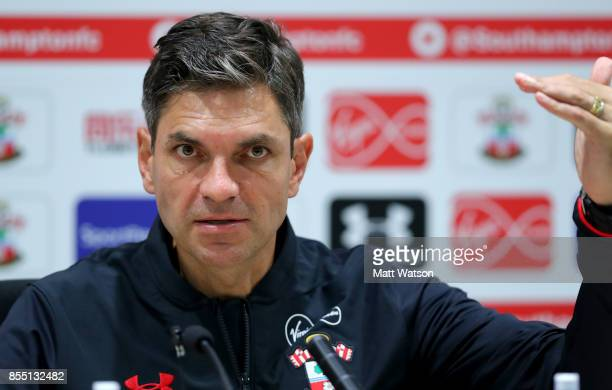 Southampton manager Mauricio Pellegrino during a Southampton FC press conference at the Staplewood Campus on September 28 2017 in Southampton England