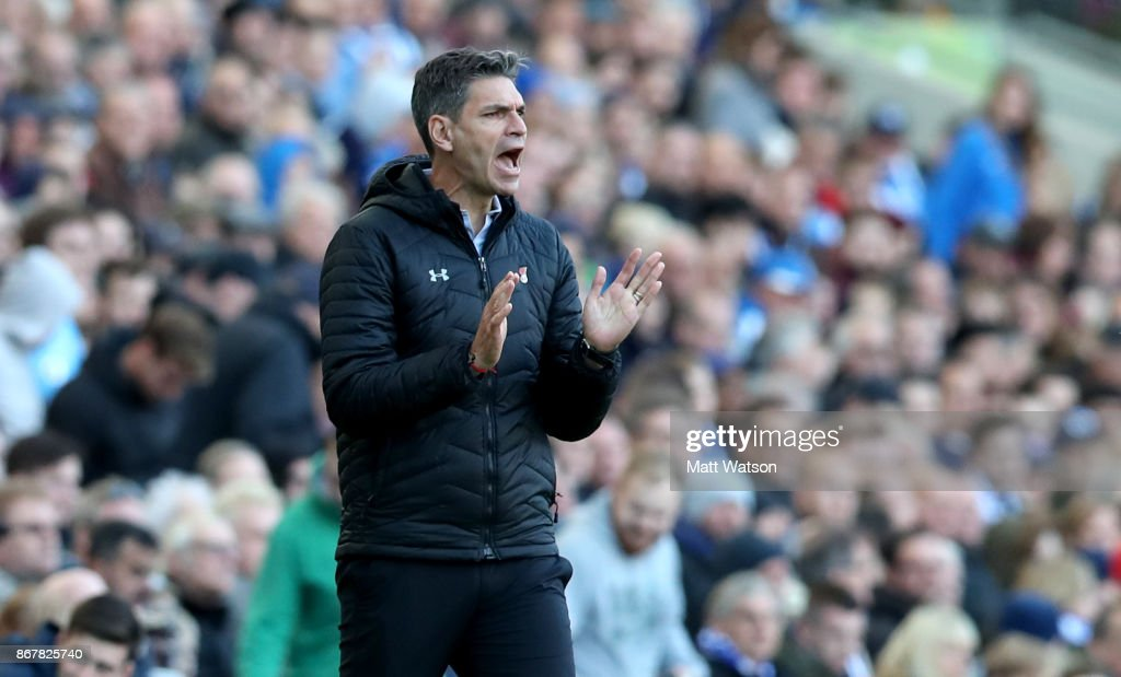 Southampton manager Mauricio Pellegrino during the Premier League match between Brighton and Hove Albion and Southampton at the Amex Stadium on October 28, 2017 in Brighton, England.