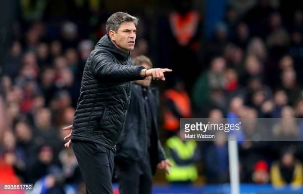 Southampton manager Mauricio Pellegrino during the Premier League match between Chelsea and Southampton at Stamford Bridge on December 16 2017 in...