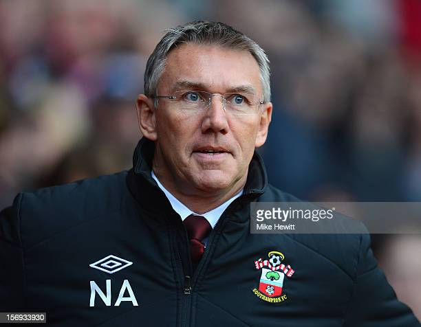 Southampton manager Nigel Adkins looks on during the Barclays Premier League match between Southampton and Newcastle United at St Mary's Stadium on...