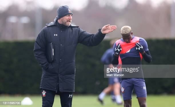 Southampton manager Ralph Hasenhüttl during a Southampton FC training session at the Staplewood Campus on April 08, 2021 in Southampton, England.