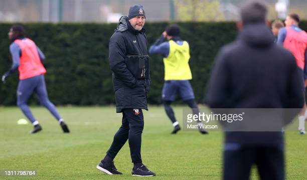 Southampton manager Ralph Hasenhüttl during a Southampton FC training session at the Staplewood Campus on April 10, 2021 in Southampton, England.