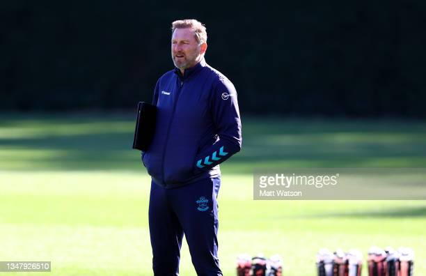 Southampton manager Ralph Hasenhüttl during a Southampton FC training session at the Staplewood Campus on October 21, 2021 in Southampton, England.