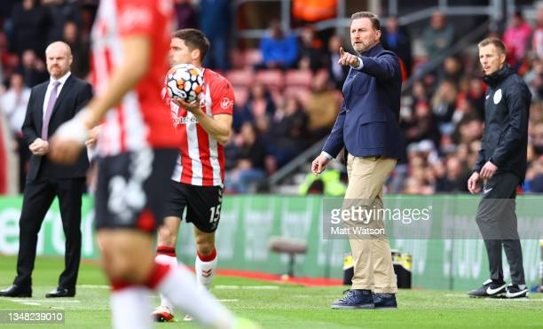 Southampton manager Ralph Hasenhüttl gestures during the Premier League match between Southampton and Burnley at St Mary's Stadium on October 23,...