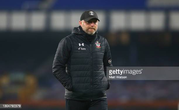 Southampton manager Ralph Hasenhüttl looks on during the Premier League match between Everton and Southampton at Goodison Park on March 01, 2021 in...