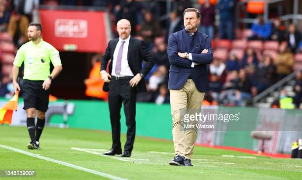 Southampton manager Ralph Hasenhüttl looks on during the Premier League match between Southampton and Burnley at St Mary's Stadium on October 23,...