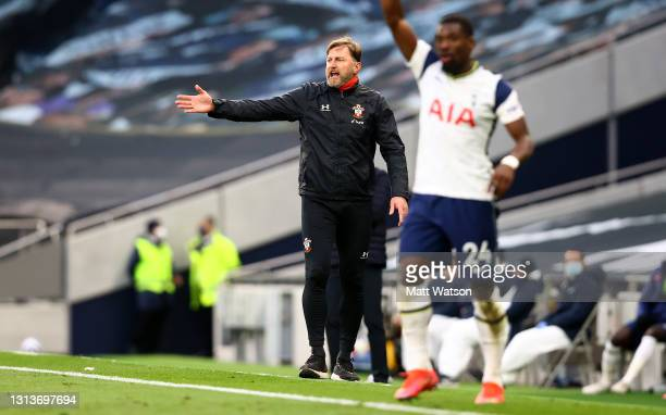 Southampton manager Ralph Hasenhüttl reacts during the Premier League match between Tottenham Hotspur and Southampton at Tottenham Hotspur Stadium on...