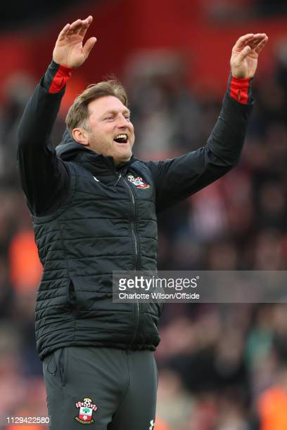 Southampton manager Ralph Hasenhuttl celebrates their win during the Premier League match between Southampton FC and Tottenham Hotspur at St Mary's...