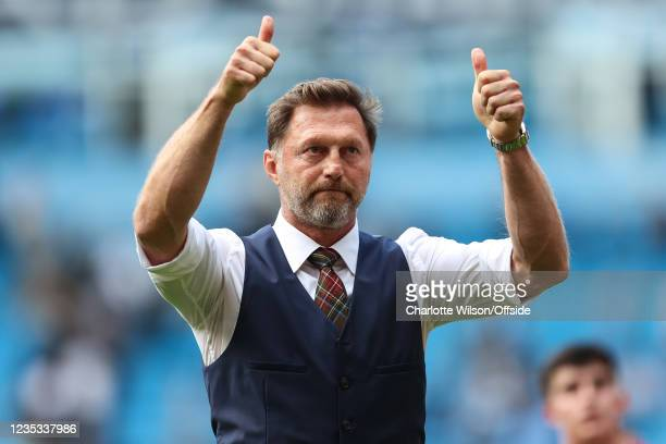 Southampton manager Ralph Hasenhuttl gestures to the fans after they draw 0-0 with Man City during the Premier League match between Manchester City...