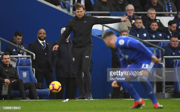 Southampton manger Ralph Hasenhutt pictured during the Premier League match between Cardiff City and Southampton FC at Cardiff City Stadium on...