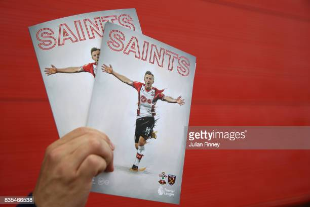 Southampton matchday programmes being sold prior to the Premier League match between Southampton and West Ham United at St Mary's Stadium on August...