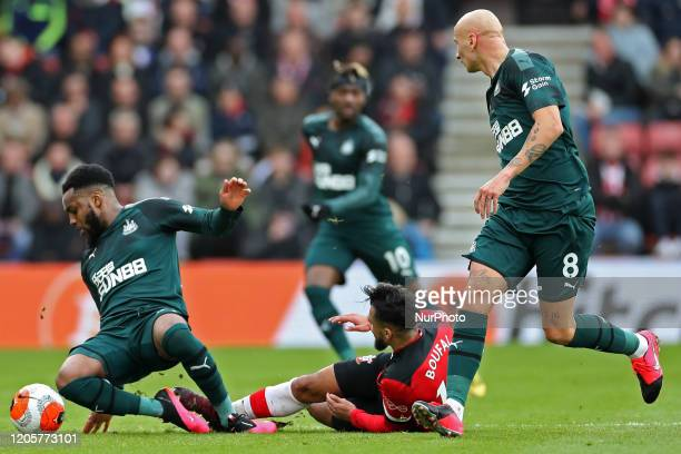 Southampton midfielder Sofiane Boufal tackles Newcastle defender Danny Rose during the Premier League match between Southampton and Newcastle United...