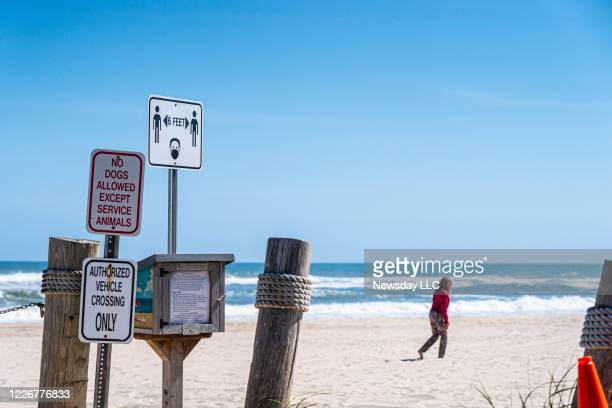 Social distancing signage at Cooper's Beach in Southampton, Long Island, New York on May 21, 2020.