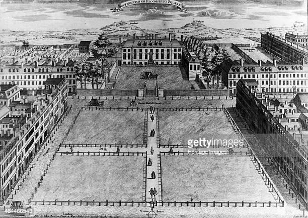 'Southampton or Bloomsbury Square' London c1725 One of the newly laid out squares with Hampstead and Highgate still villages at the time visible in...
