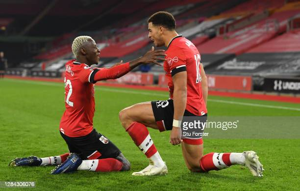 Southampton player Che Adams celebrates his opening goal with Moussa Djenepo during the Premier League match between Southampton and Newcastle United...
