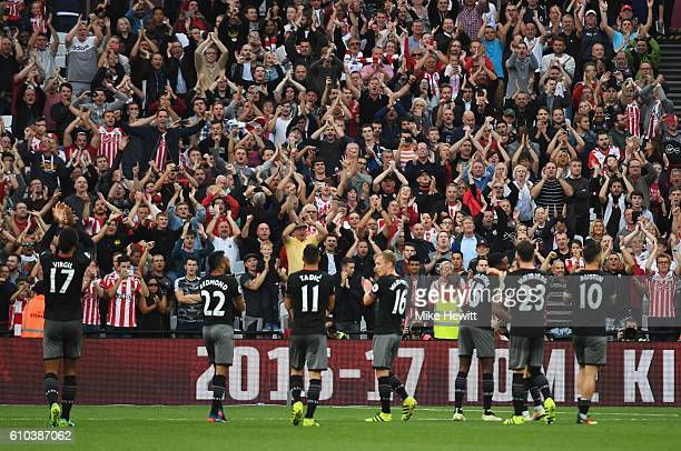 Southampton players applaud the travelling fans after victory in the Premier League match between West Ham United and Southampton at London Stadium...