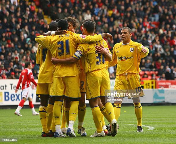 Southampton players celebrate after Stern John scores the opening goal during the Coca Cola Championship match between Charlton Athletic and...