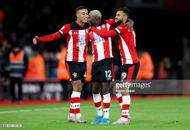 Southampton players celebrate following their sides victory in the Premier League match between Southampton FC and Watford FC at St Mary's Stadium on...