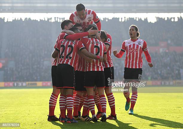 Southampton players celebrate the opening goal bu James WardProwse during the Premier League match between Southampton and Leicester City at St...