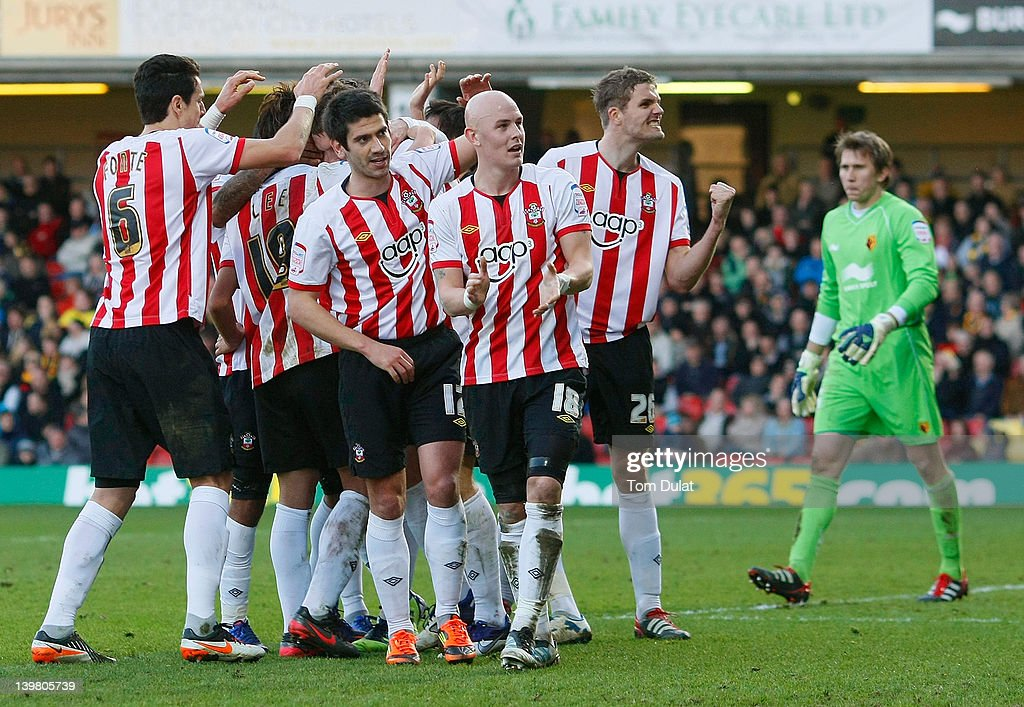 Southampton players celebrate their third goal during the npower Championship match between Watford and Southampton at Vicarage Road on February 25, 2012 in Watford, England.
