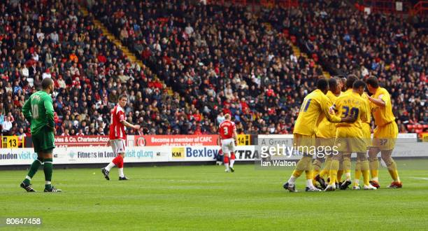 Southampton players celebrates after Stern John scores the opening goal during the Coca Cola Championship match between Charlton Athletic and...