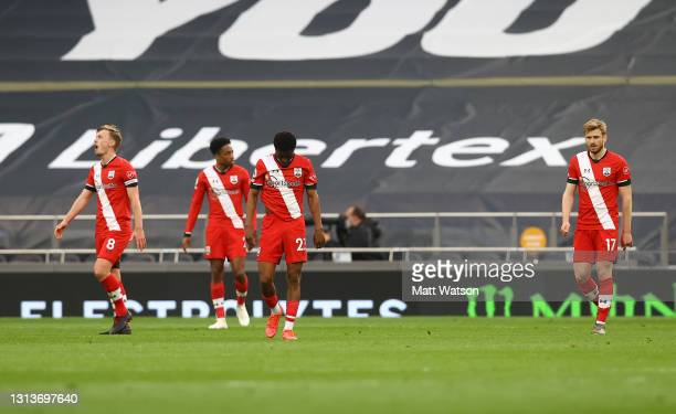 Southampton players dejected during the Premier League match between Tottenham Hotspur and Southampton at Tottenham Hotspur Stadium on April 21, 2021...