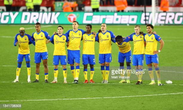 Southampton players during the Carabao Cup Third Round match between Sheffield United and Southampton at Bramall Lane on September 21, 2021 in...
