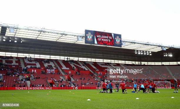 Southampton players out for the warm up during the preseason friendly between Southampton FC and Sevilla at St Mary's Stadium on August 5 2017 in...