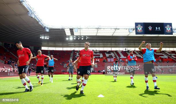 Southampton players warm up during the preseason friendly between Southampton FC and Sevilla at St Mary's Stadium on August 5 2017 in Southampton...