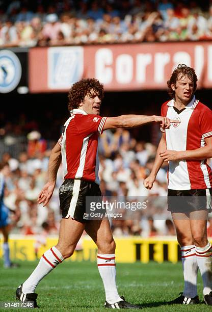 Southampton strike force Kevin Keegan and Mick Channon look on during Keegan's debut in the First Division match between Southampton and Manchester...