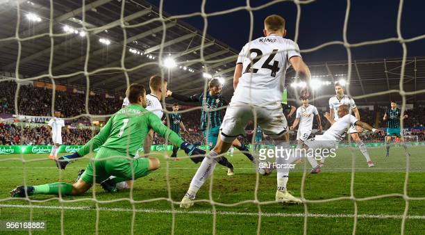 Southampton striker Manolo Gabbiadini fires in the winning goal during the Premier League match between Swansea City and Southampton at Liberty...