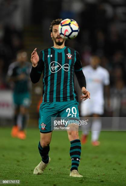 Southampton striker Manolo Gabbiadini in action during the Premier League match between Swansea City and Southampton at Liberty Stadium on May 8 2018...