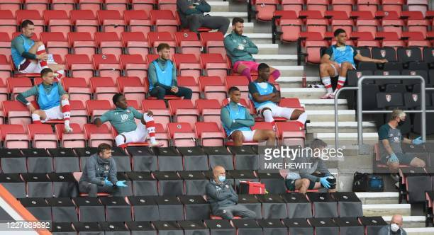 Southampton substitute players sits on the tribune during the English Premier League football match between Bournemouth and Southampton at the...