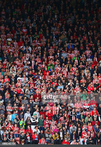 Southampton supporters cheer during the Barclays Premier League match between Southampton and Leicester City at St Mary's Stadium on October 17 2015...