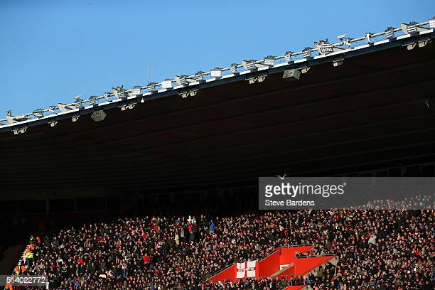 Southampton supporters watch the match during the Barclays Premier League match between Southampton and Sunderland at St Mary's Stadium on March 5...