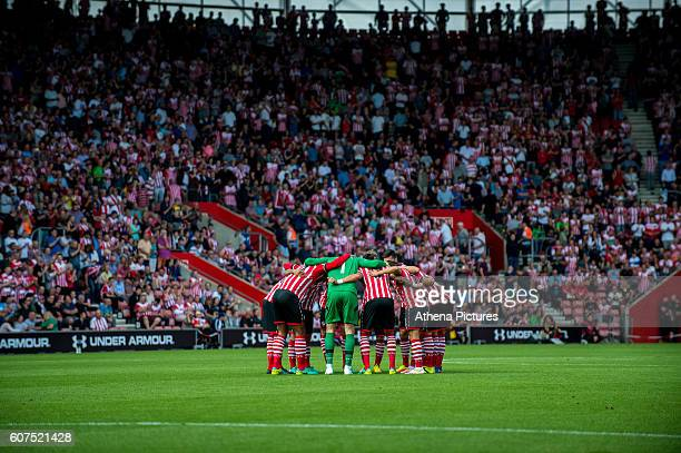 Southampton team huddle ahead of the Premier League match between Southampton and Swansea City at St Mary's Stadium on September 18 2016 in...