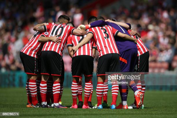 Southampton team in a group huddle prior to the Premier League match between Southampton and Stoke City at St Mary's Stadium on May 21 2017 in...