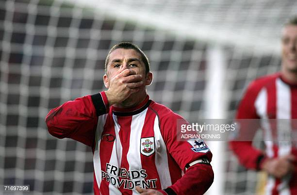 A file photo taken 11 December 2004 shows Southampton's Kevin Phillips reacting to scoring the opening goal against Middlesbrough during the...