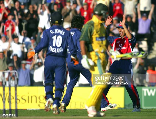 England's Vikram Solanki celebrates taking the wicket of Australia's Ricky Ponting in a Twenty20 match at the Rose Bowl Stadium in Southampton 13...